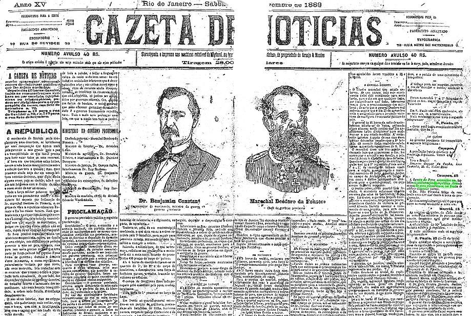 A Gazeta de notícias Brazil Republic Day