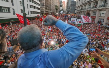 Lula speaks to a crowd of supporters on the eve of his trial R Stuckert IL