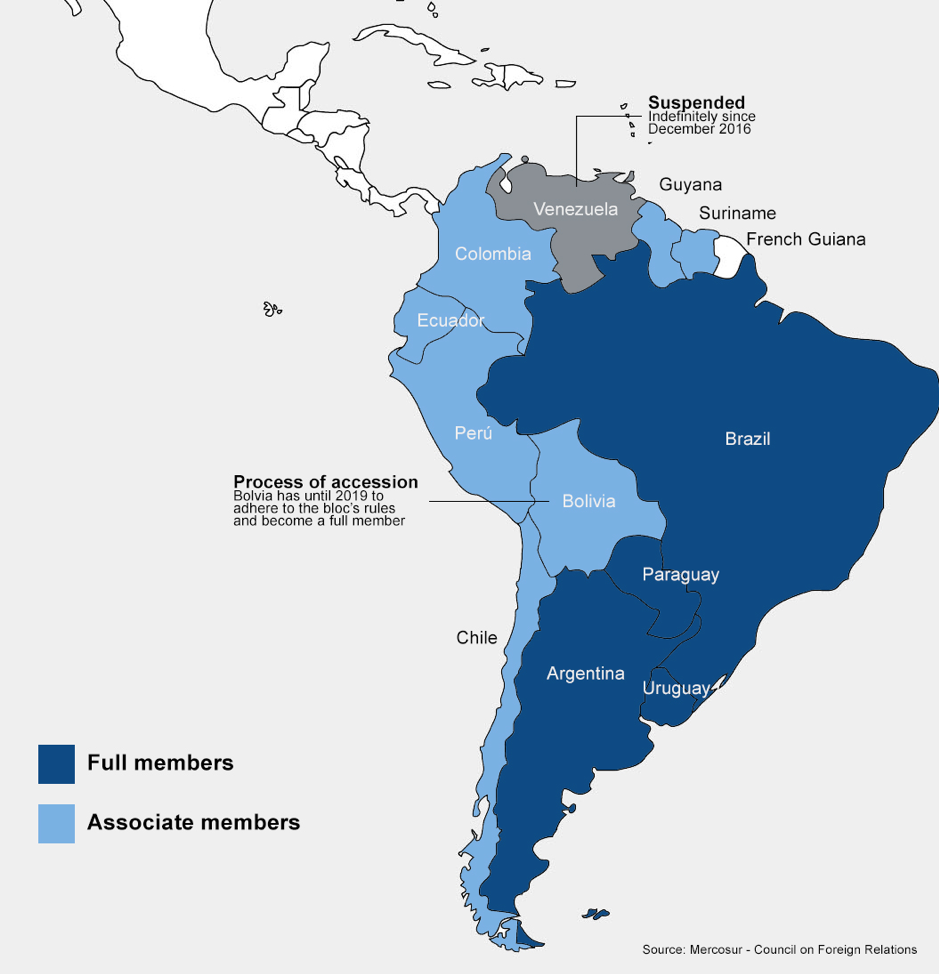mercosur member countries brazil argentina paraguay uruguay