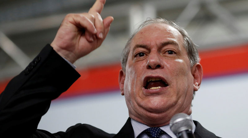 Brazil's former national integration minister Ciro Gomes speaks during the launch of his pre-candidacy for Brazil's presidential election for the Democratic Labour party, at the National Congress, in Brasilia