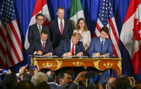 The U.S., Mexico, and Canada sign the revised NAFTA. Photo: Ron Przysucha/U.S. Department of State