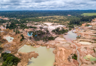 Aerial view of deforested area of the Amazon rainforest