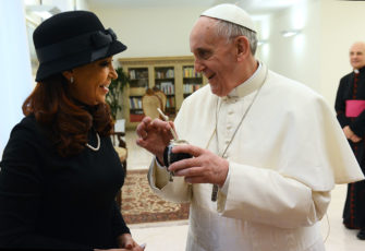 Cristina Fernández de Kirchner, ex president of Argentina, with Pope Francis