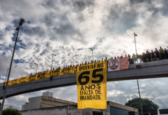 Protest against the pension reform in Belo Horizonte. Photo: Antonio Salaverry/Shutterstock